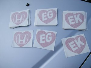 honda civic heart stickers